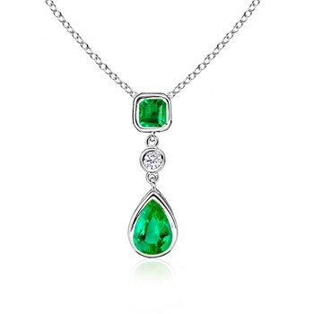 Angara Emerald Pendant - GIA Certified Cushion Emerald Double Halo Pendant