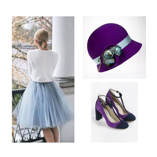 Feminine ensemble idea to look fabulous at your next wedding or the races! Headwear featured available to hire now. #purple #blue #outfit #style #fashion #inspiration #ideas #hat #cloche #headwear #headpiece #millinery #hire #hollyyoungmillinery #boden #skirt #heels #wedding #ascot #badminton #races #designer #bespoke #event #garden #party