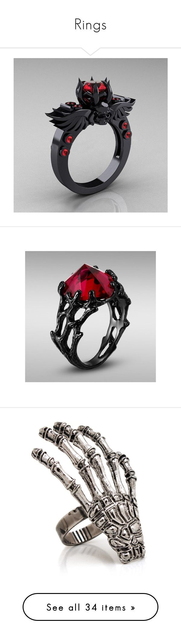 """""""Rings"""" by hopelessxcreature ❤ liked on Polyvore featuring jewelry, rings, ruby solitaire, ruby ring, sterling silver jewelry, ruby heart jewelry, solitaire ring, accessories, mustache jewelry and skull ring"""