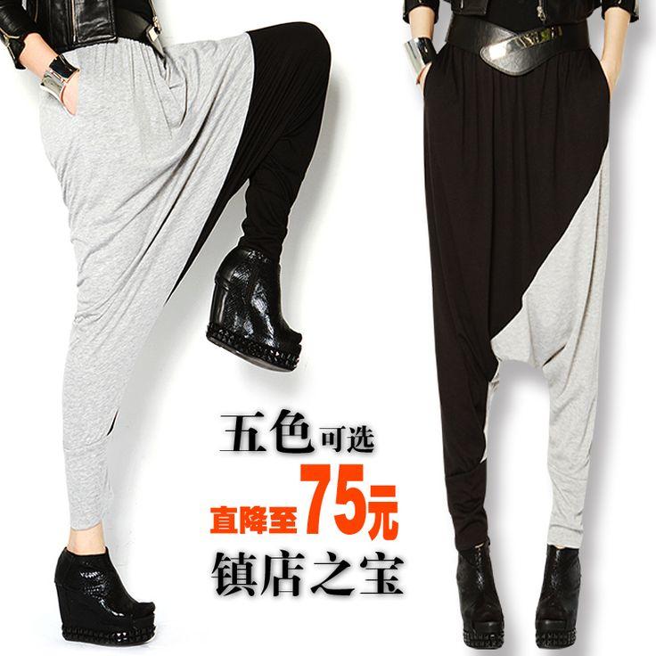 Падение промежность брюки мужчины женские шаровары промежность большие любители хип хоп мода Большой размер блока цвета свободного покроя брюкикупить в магазине Shanghai Newarri Garments CO.,LTD.наAliExpress