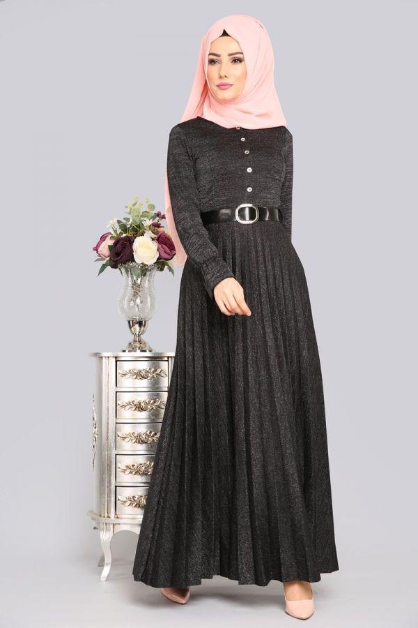 Piliseli Simli Elbise Edf4135 Siyah Giyim Elbise Modelleri Elbise