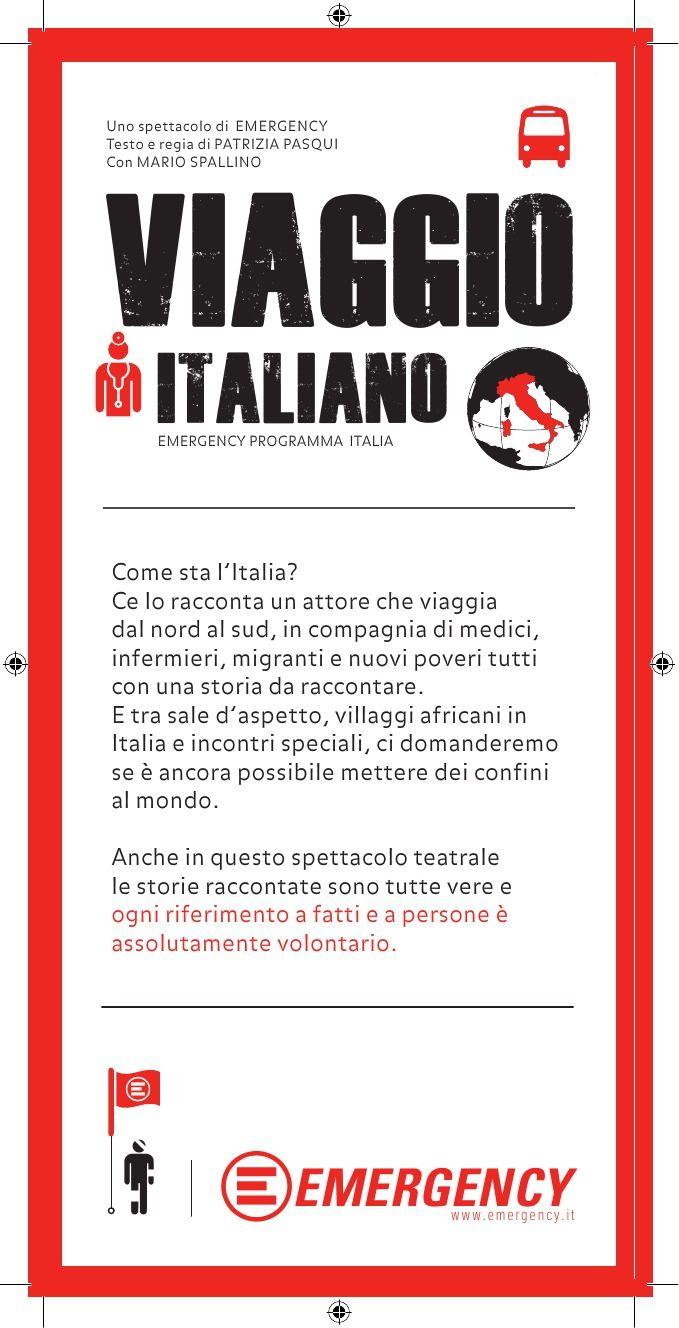 volantino Viaggio Italia uno spettacolo di Emergency