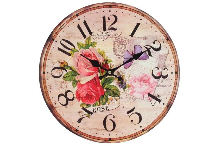Ceas de lemn de perete Romantic Rose
