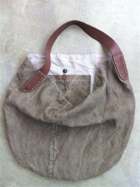 Einer der freundlichen Lumpen Sack, aus aufgearbeiteten, demontierten Vintage belgische Leinen – handgefertigt hand genähte Details mit natürlichen