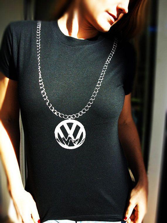 vw chain  shirt womens tshirts girls top hip hop clothing   bug bus camper van beastie