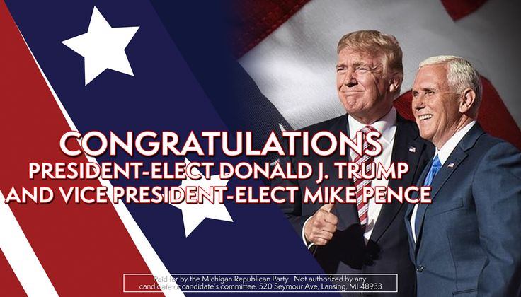 Congratulations to Donald Trump and Mike Pence for being elected President and Vice-President of the United States!
