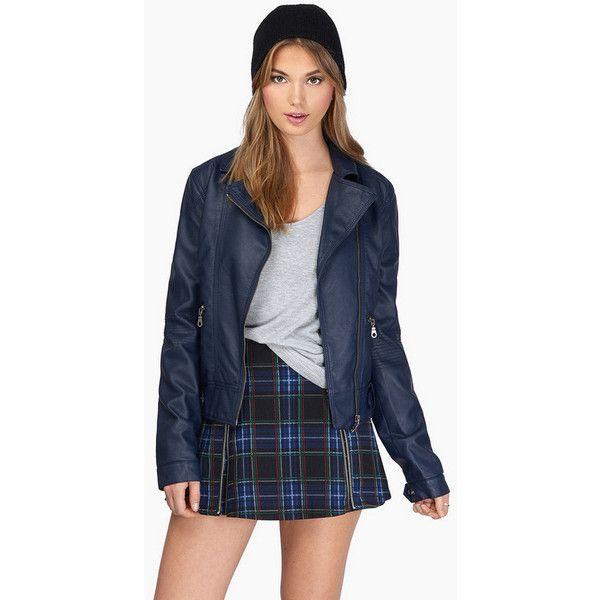 Tobi Lumi Motorcycle Jacket (£27) ❤ liked on Polyvore featuring outerwear, jackets, navy, motorcycle jackets, navy leather jacket, blue biker jacket, leather rider jacket and navy blue leather jacket