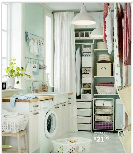 MUST DO the curtain/organization for laundry room storage wall & the short rods to hang stuff on. I love the way EVERYTHING looks so nice with the jadeite colored walls!