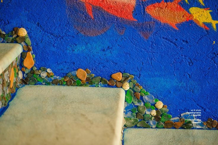 Mosaic Stair Art–Waterpark Entrance #mosaic #seaglass #fish #ceramics #handmade