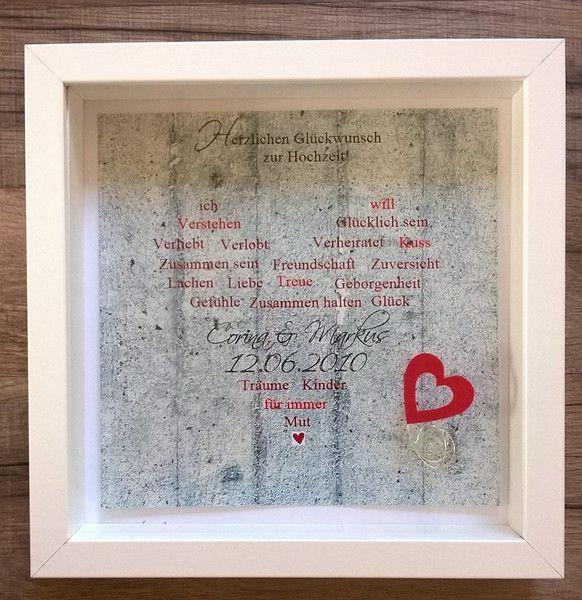 Geldgeschenke - Hochzeitsgeschenk Bild im Rahmen Herz - ein Designerstück von Gluecksgefuel bei DaWanda
