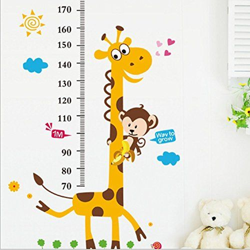 Caroyla 2pcs Carton Wall Stickers Growth Chart Giraffe Monkey Children Bedroom Decor Living Room Decor * For more information, visit image link.