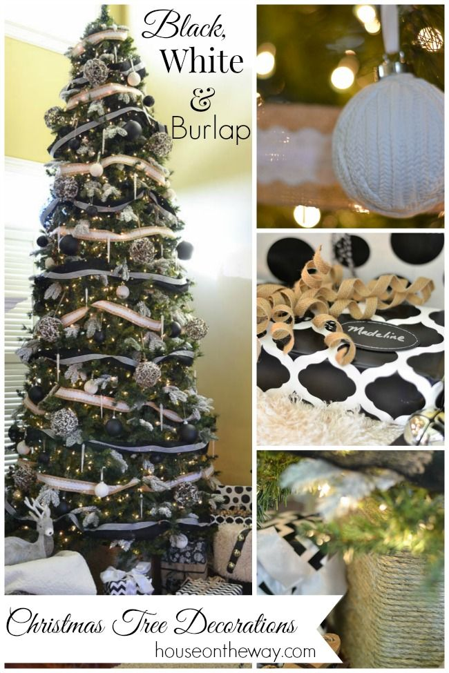 Black, White & Burlap Christmas Tree Decorations from houseontheway.com. This year, I decorated my Christmas Tree with black and white striped ribbon, burlap with white lace ribbon, black, white and grapevine balls, icicles and black and white tassels.: