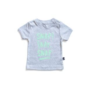 Anarkid Snap Tee - Grey Marl   Organic Baby clothing Online Australia