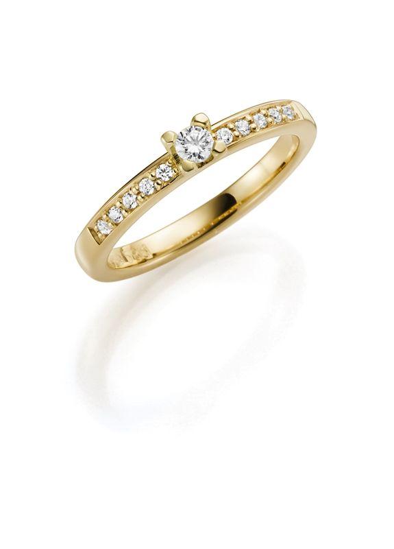 14K geelgouden aanzoekring diamant Snowdrops H101