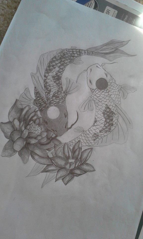 Yin Yang Koi Fish Tattoo Design by ClaireWinke