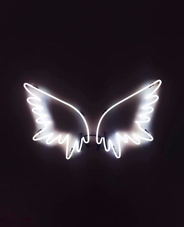 ෴๑angels are with you protecting you wherever you go๑෴ white neon light / sign ~ angel wings ~ saved by: pinterest: bri_leigh777 ~ board: neon lights