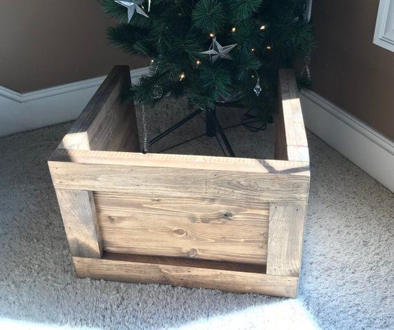 Folding Slim Tree Christmas Tree Box Stand Wood Tree Skirt Etsy In 2020 Christmas Tree Box Stand Christmas Tree Box Small Wood Christmas Tree