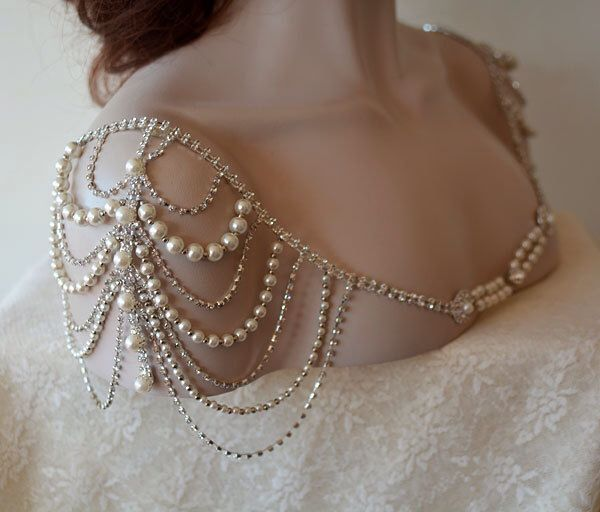 Wedding Dress Shoulder, Wedding Dress Accessory, Bridal Epaulettes, Rhinestone and Pearl Shoulder, Wedding  Accessory, Bridal Accessory by ADbrdal on Etsy https://www.etsy.com/listing/218092418/wedding-dress-shoulder-wedding-dress