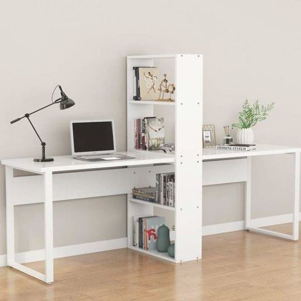 This Double Workstation Computer Desk With Shelf Will Be A Great Solution For You And Your Partne In 2020 Home Office Design Bookshelves Diy Computer Desk With Shelves