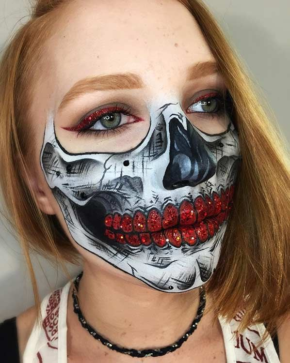 Glam Half Face Skeleton Makeup Look for Halloween