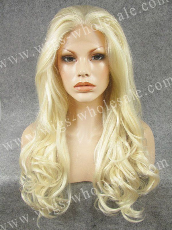 Natural Long Wavy Highlight Blonde Drag Queens Cosplay Heat Resistant Synthetic Lace Front Wig