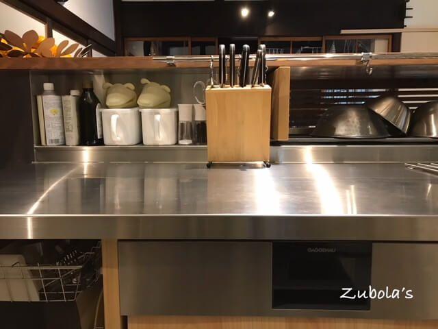 キッチンカウンターの高さは ザルが隠れる高さで 天板 約30cm キッチンカウンター キッチンのレイアウト
