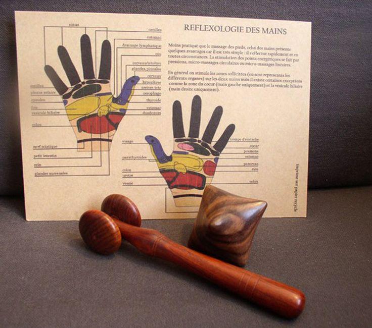 Kit réflexologie mains & visage en bois de rose : roulette et cube #réflexologie #massage