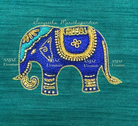 Motif loves . Lovely cute small elephanr design hand embroidery thread work from Anjaz. 30 June 2017