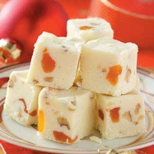 Apricot White Fudge...these would be so cute individually wrapped for sweet little presents!