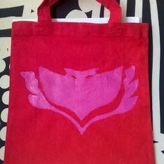 Borsina rossa con simbolo di gufetta in cotone oeko-tex