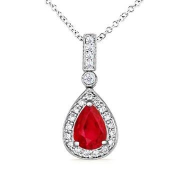 Angara Pear Drop Tanzanite Diamond Halo Vintage Necklace in Platinum qMphx2SE