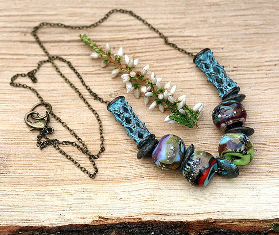Ethnic Necklace Earthy Jewelry Artisan by MayaHoneyJewelry on Etsy