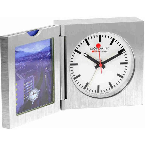 Mondaine White Dial Unisex Desk Clock (70 CHF) ❤ liked on Polyvore featuring jewelry, watches, alarm wrist watch, white faced watches, analog watches, stainless steel jewellery and mondaine