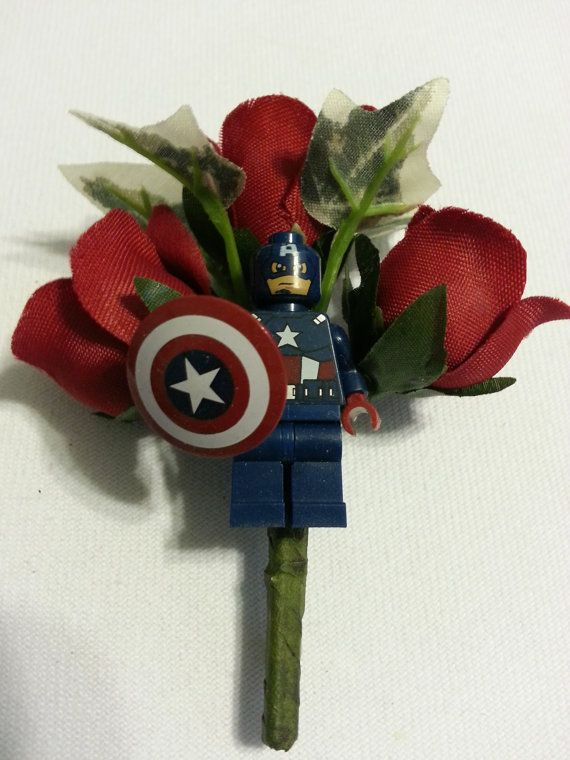 Captain America ~ Avengers Lego Minifigure Bountonniere on a silk Mini rose stem ( with attached pin) . Perfect for the geek in your wedding