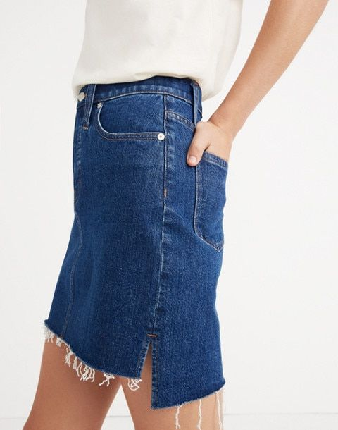 18d23a9a9a Stretch Denim Straight Mini Skirt: Step-Hem Edition in gershwin wash image 1