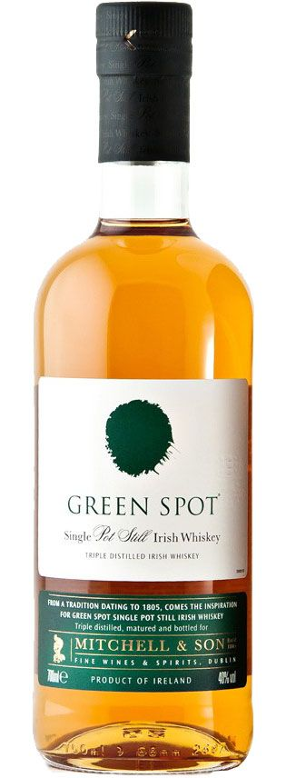 "Green Spot Single Pot Still Irish Whiskey Aged for nearly a decade, this rare whiskey, considered the holy grail of Irish whiskey, is ""unquestionably one of the world's greatest whiskies,"" according to the Whisky Bible."