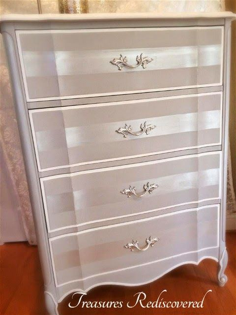 Annie Sloan and Paint Couture - Subtle Stripes Transform A French Provincial Chest Of Drawers By Treasures Rediscovered - Featured On Furniture Flippin' - www.FurnitureFlippin.com