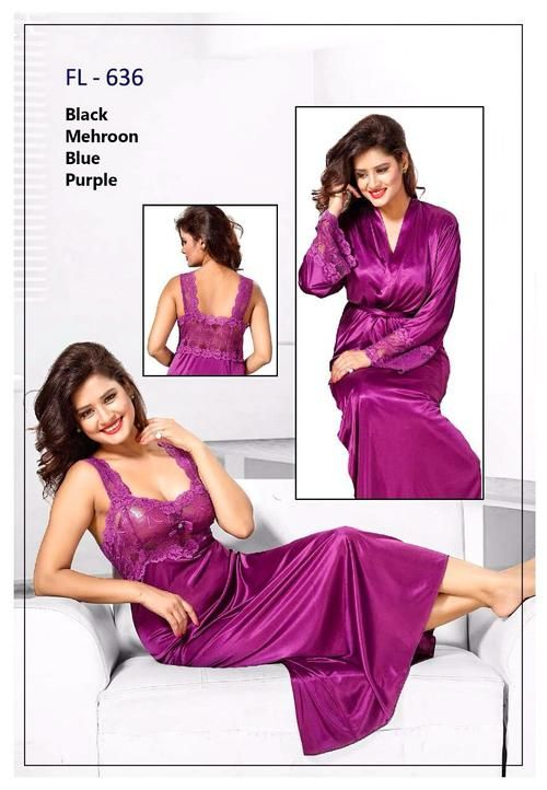 b066c8603 2 Pcs FL-636 - Magenta Flourish Exclusive Bridal Nighty Set Collection