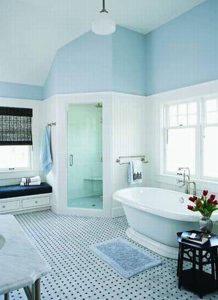 Beading For Bathroom Floor : Love the shower floor tile bead board and storage bench