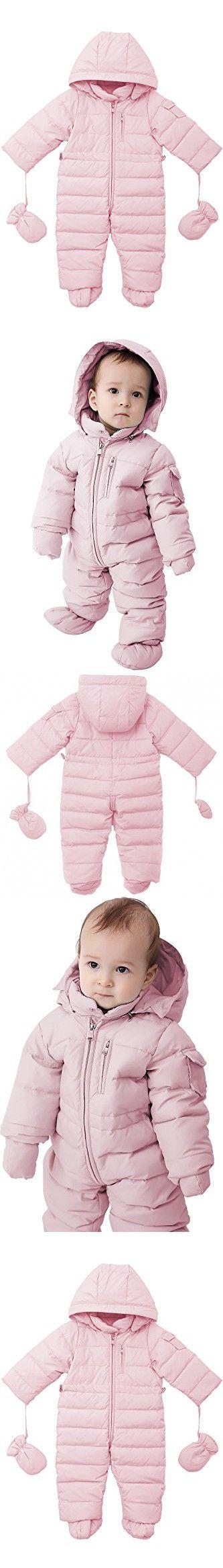 Oceankids Baby Boys Girls Pink Pram One-Piece Snowsuit Attached Hood 24M 18-24 Months