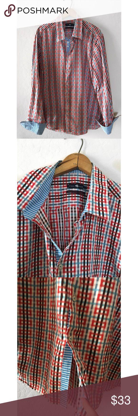 """DESIGNER STONE ROSE RED RIVET COLLECTION SHIRT XXL STONE ROSE RED RIVET COLLECTION PLAID SHIRT SZ XXL - 48-50""""CHEST 19"""" SHOULDER TO SHOULDER 29-30"""" LENGTH - 100% COTTON Stone Rose Shirts Casual Button Down Shirts"""