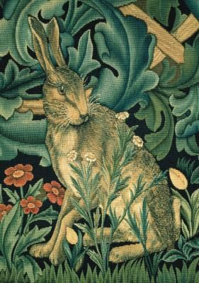 Morris likes to incorporate natural elements into his design patterns such as birds and other animals.     This is a tapestry by Morris featuring a rabbit.