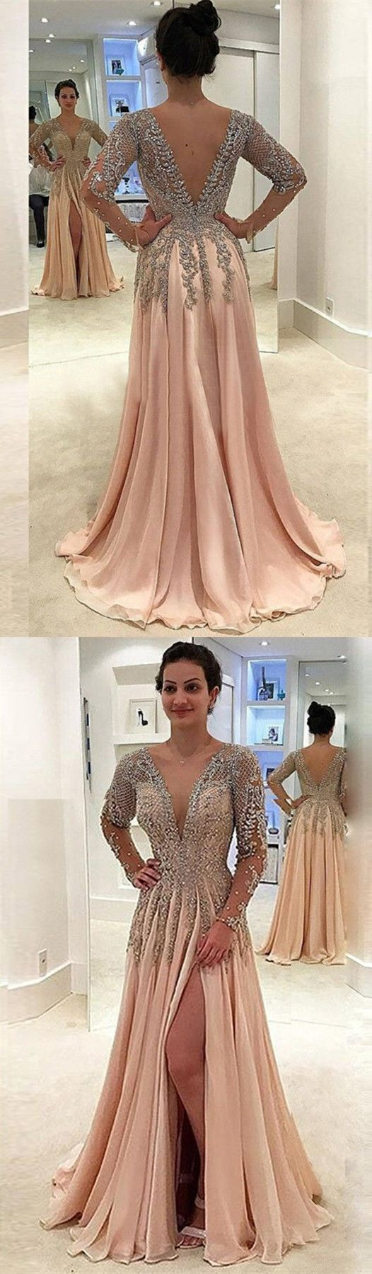 elegant champagne formal dresses with plunging neckline , modest evening gowns with v-back, #evening