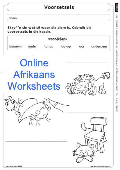 Grade 3 Online Afrikaans Worksheets Voorsetsels. For more visit www.e-classroom.co.za!