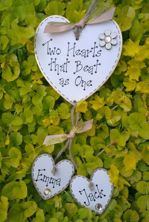 Handmade Wooden Personalized Hearts Plaque Sign by GabyLoveCraft, £5.99
