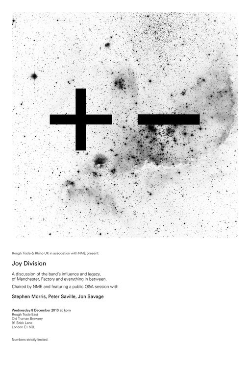 +− Joy Division |  poster for: A discussion of the band's influence and legacy. featuring: Stephen Morris, Peter Saville & Jon Savage