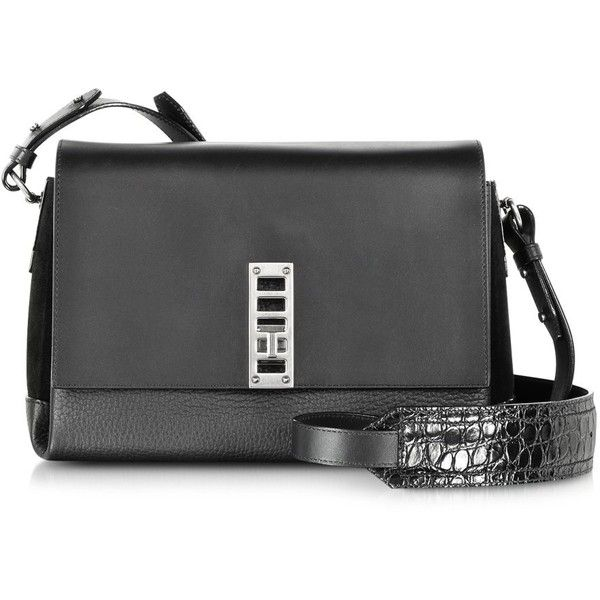 Proenza Schouler PS Elliot Leather and Suede Crossbody Bag (2,025 CAD) ❤ liked on Polyvore featuring bags, handbags, shoulder bags, malas, black, suede handbags, leather cross body handbags, leather crossbody handbags, crocodile leather handbags and leather shoulder bag