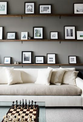 Simple Minimalist Floating Shelves Behind Couch