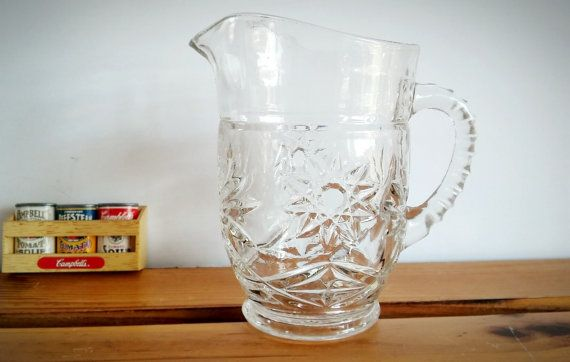 Anchor Hocking Prescut Glass Syrup Pitcher Anchor by AbateVintage