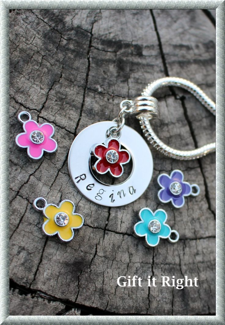 Flower Personalized Hand Stamped Bracelet by Giftitright on Etsy